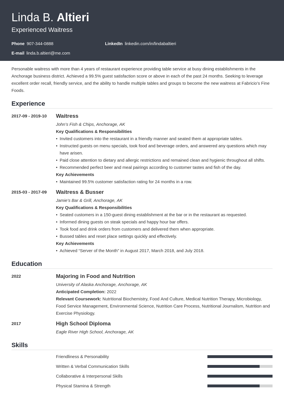 waiter waitress resume example template influx