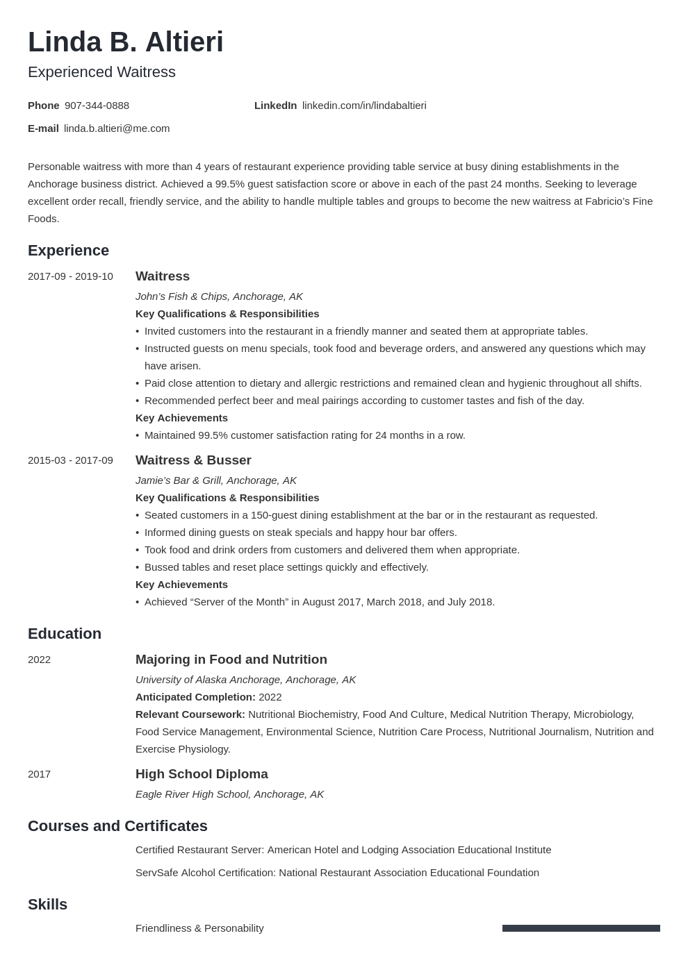 Waitress Resume Examples Writing Guide Skills Template