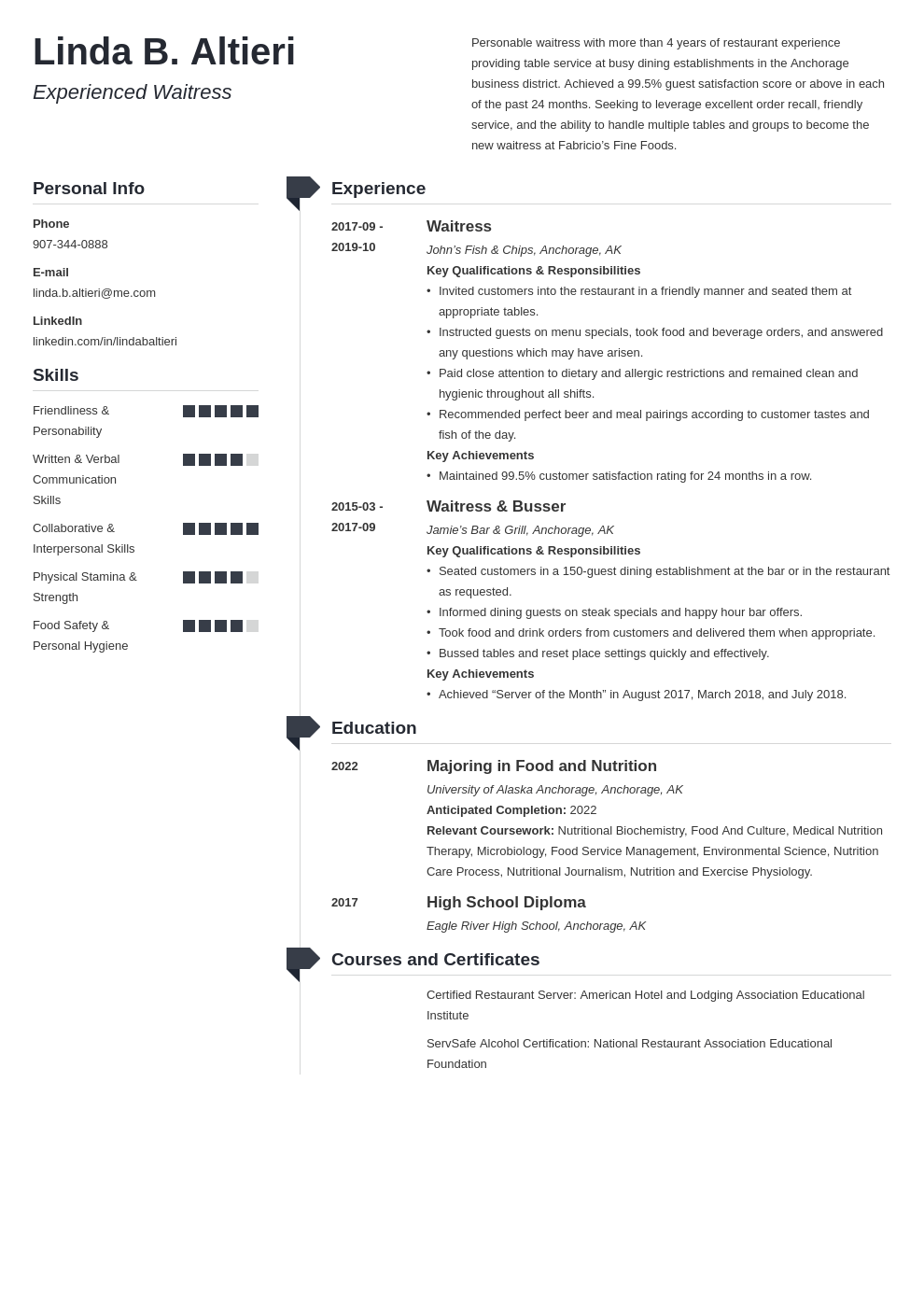 waiter waitress resume example template muse