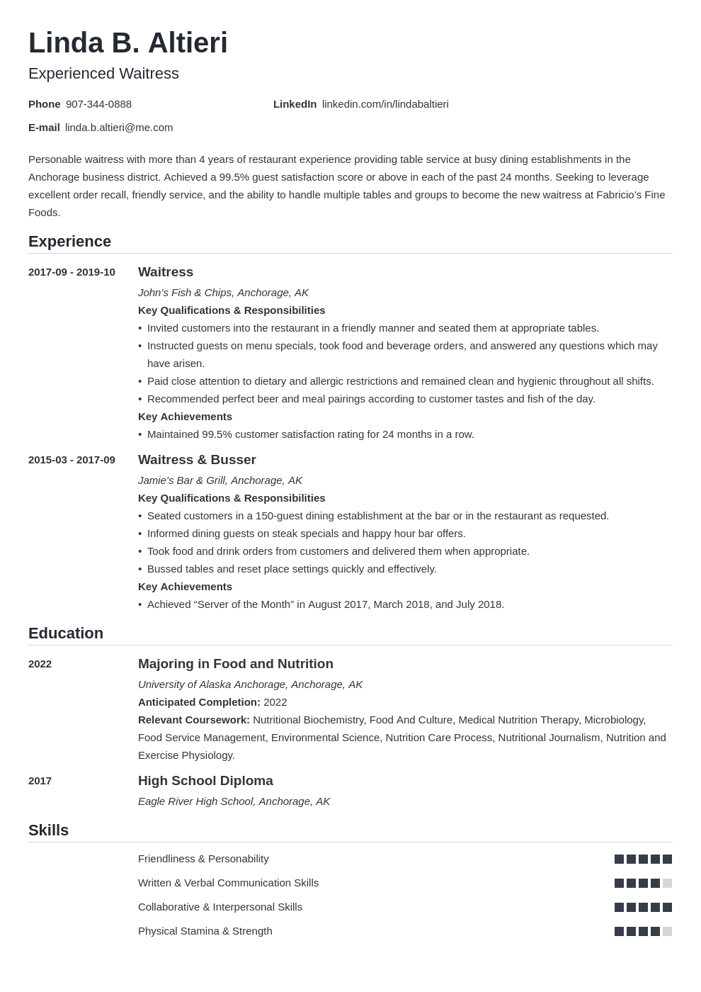 Waitress Resume Examples Amp Writing Guide Skills Template