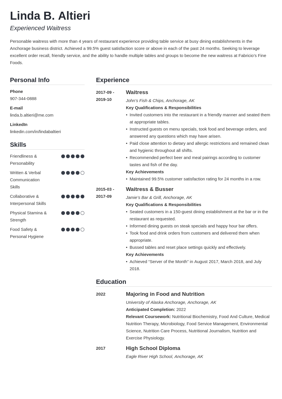 waiter waitress resume example template simple