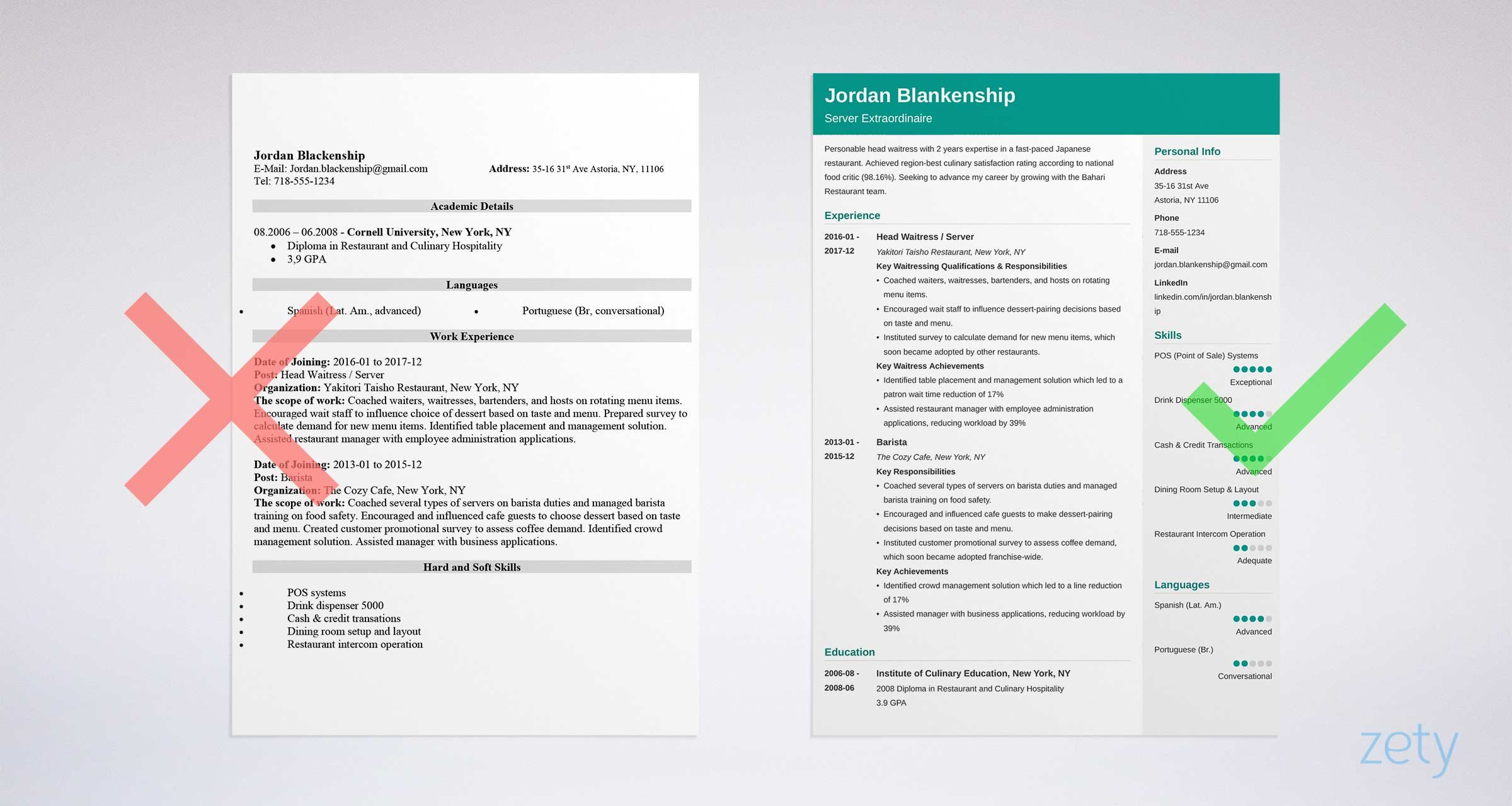 Waiter Waitress Resume Templates