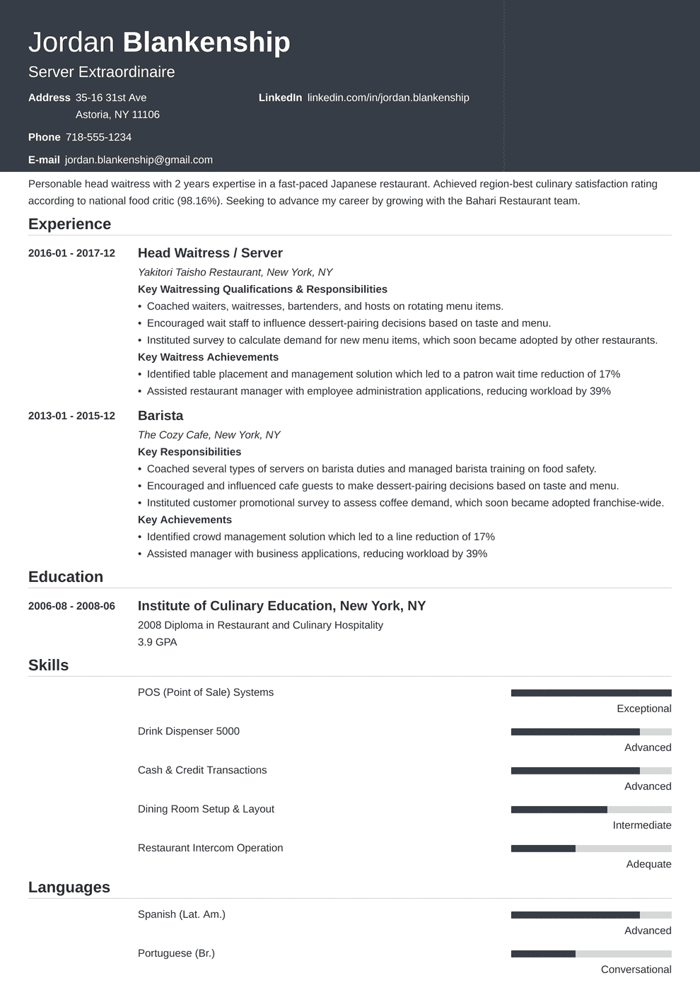 Waiter Waitress Resume Sample Complete Guide 20 Examples