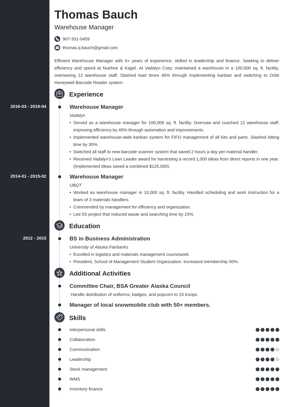 warehouse manager resume example template concept