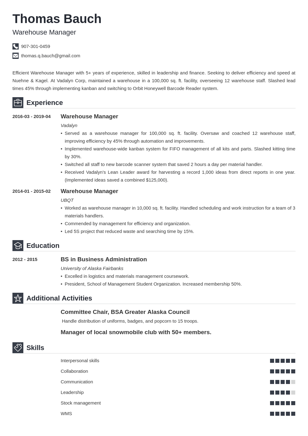 warehouse manager resume example template iconic