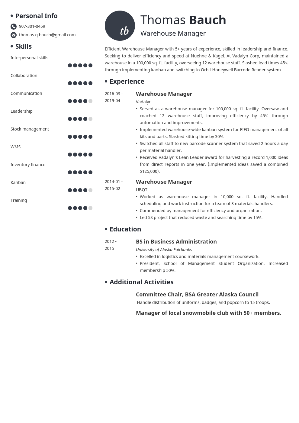 warehouse manager resume example template initials