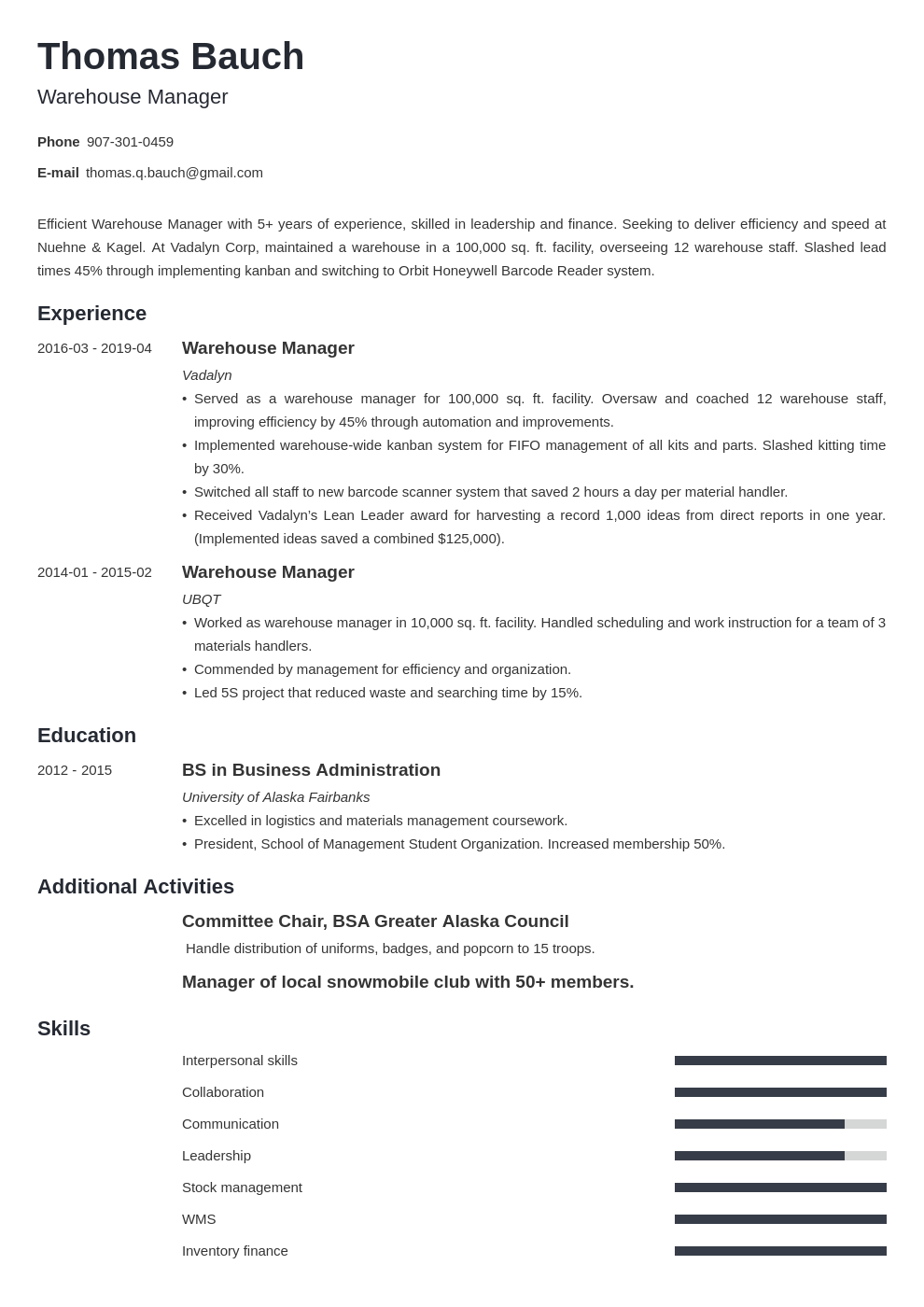 warehouse manager resume example template minimo