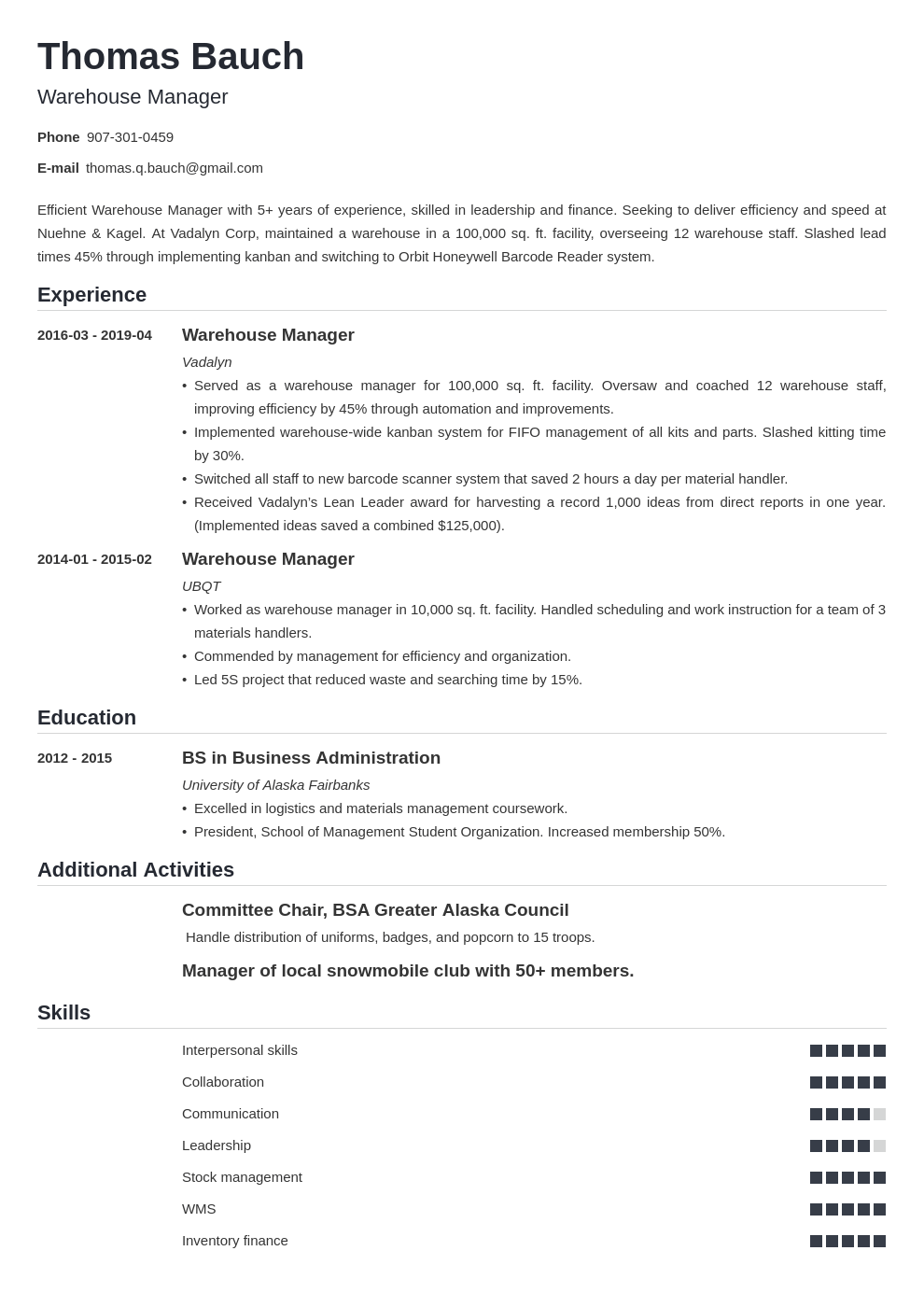 warehouse manager resume example template nanica