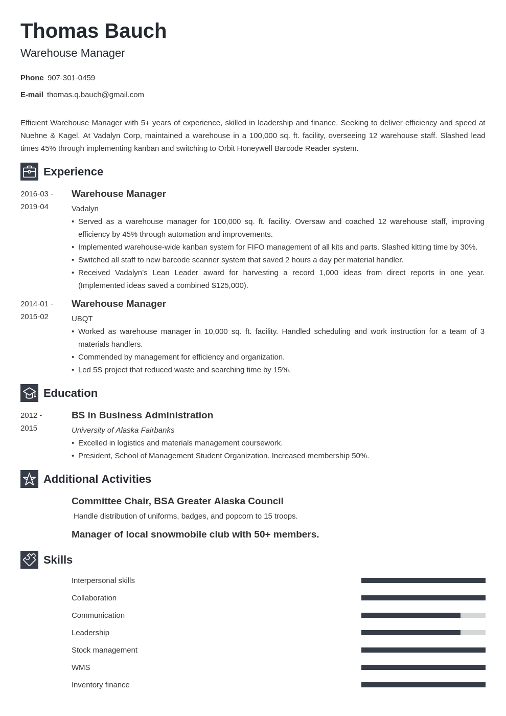 warehouse manager resume example template newcast