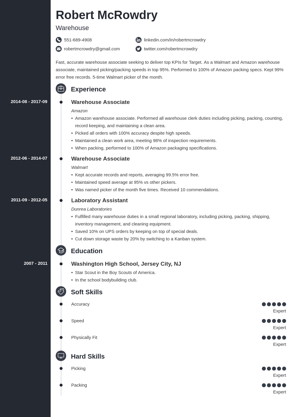 warehouse resume example template concept