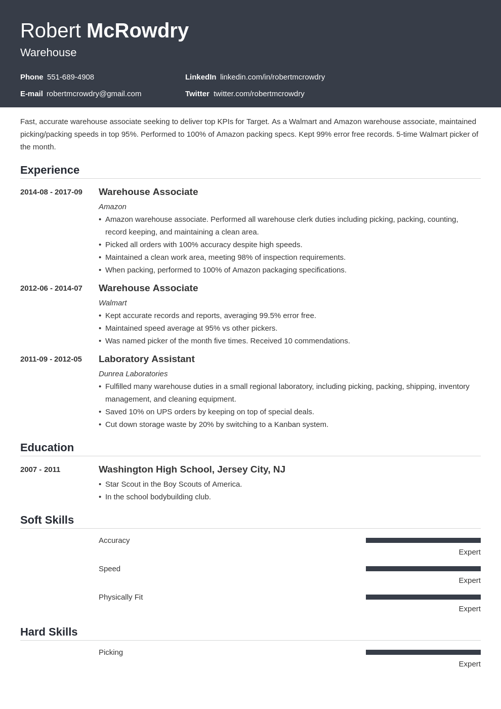 warehouse resume example template influx