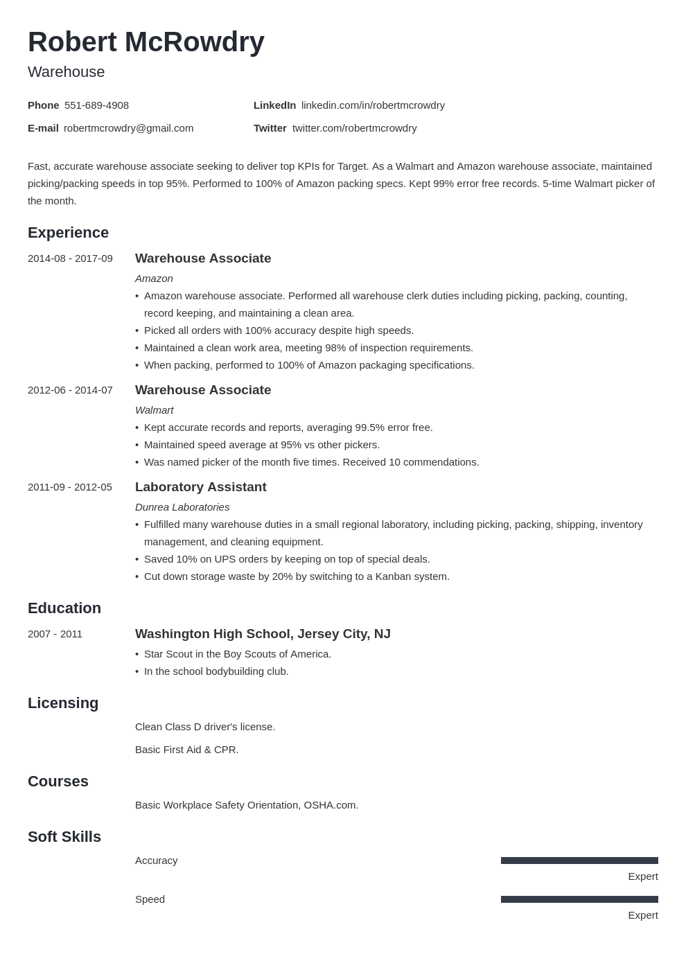 warehouse resume example template minimo