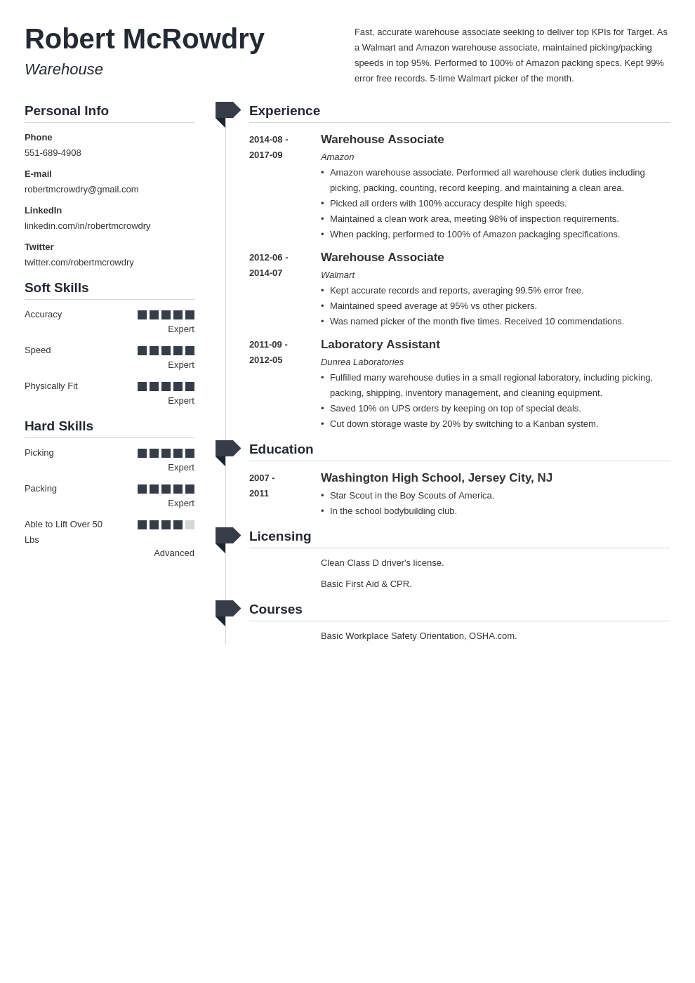warehouse resume example template muse
