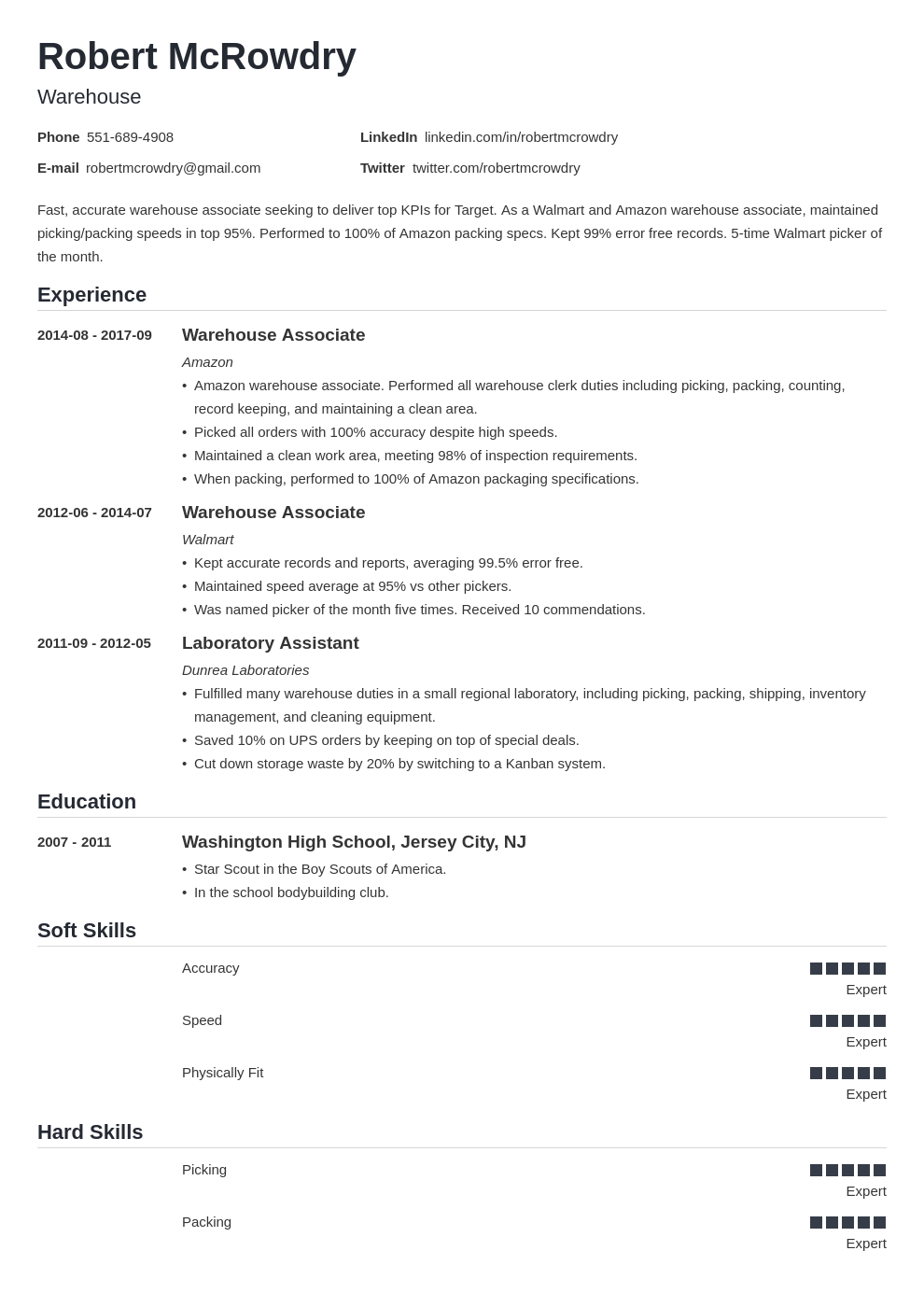 warehouse resume example template nanica
