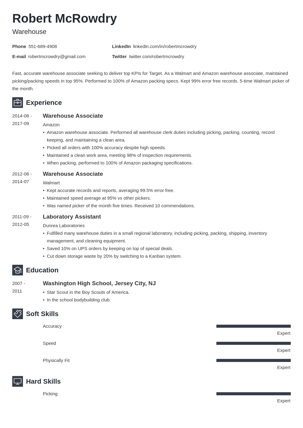 warehouse resume example template newcast