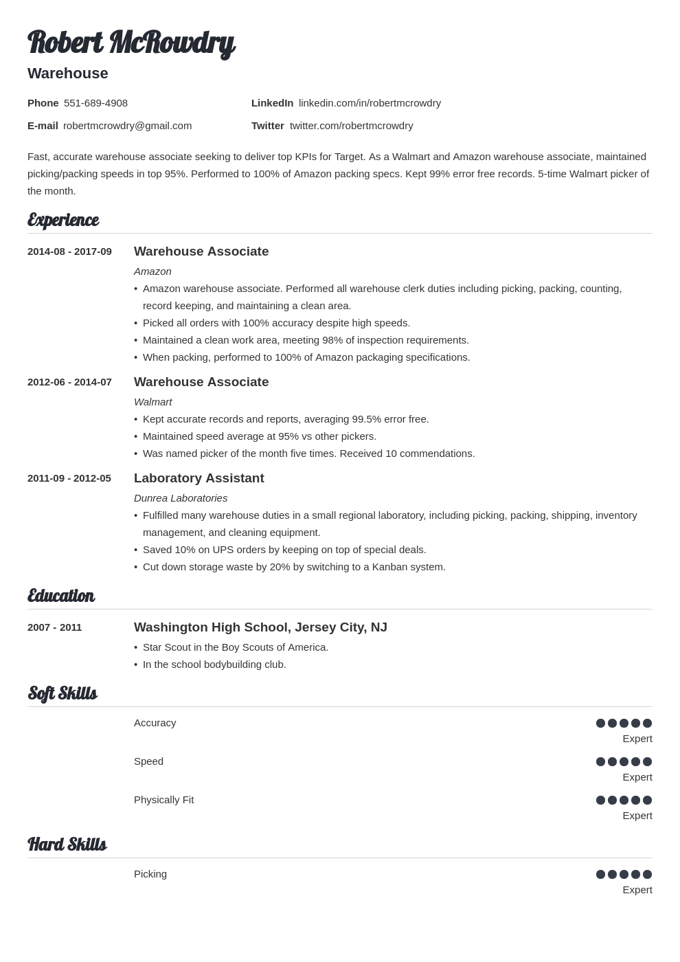 warehouse resume example template valera