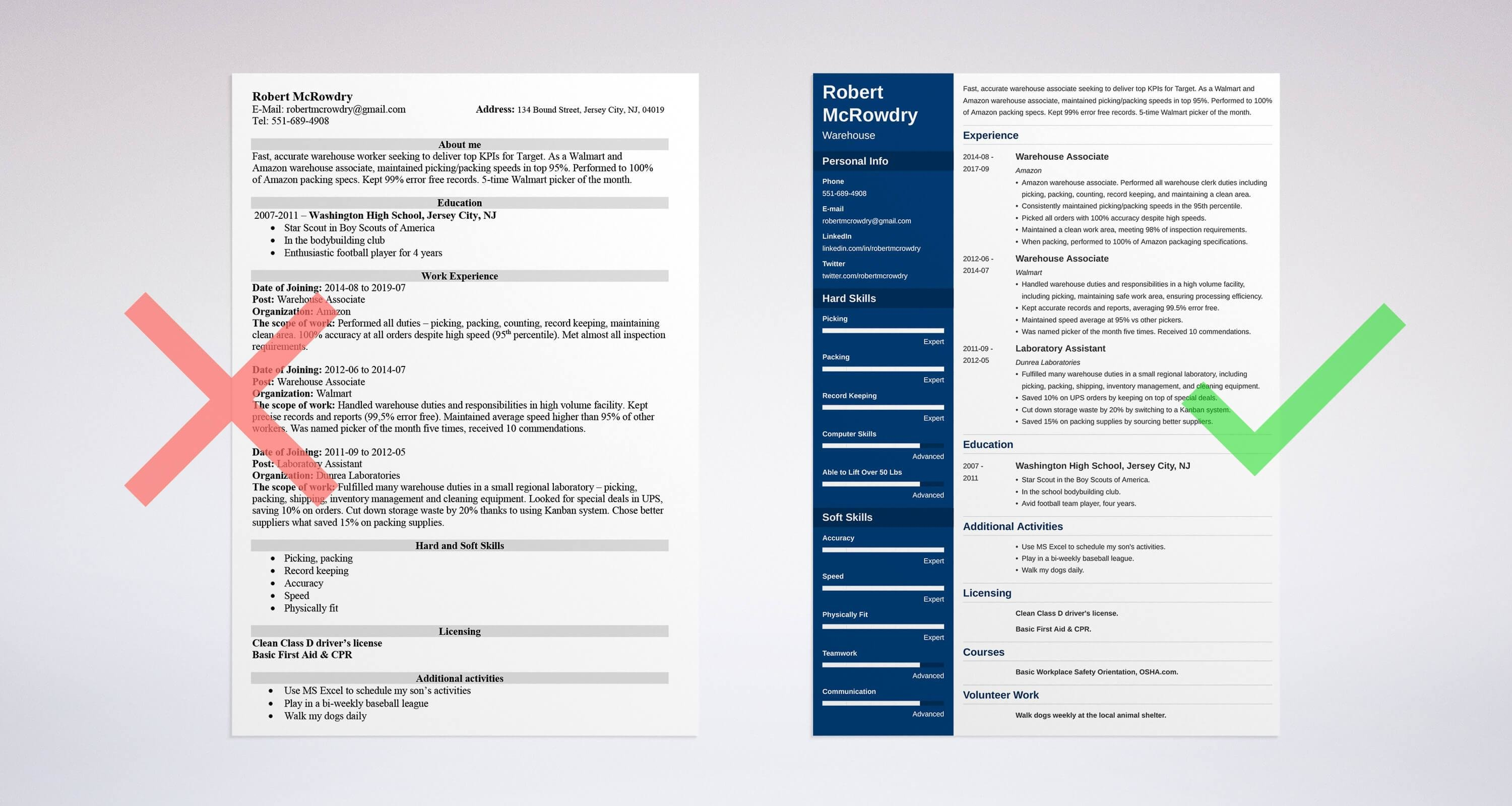 warehouse resume examples  for workers and associates