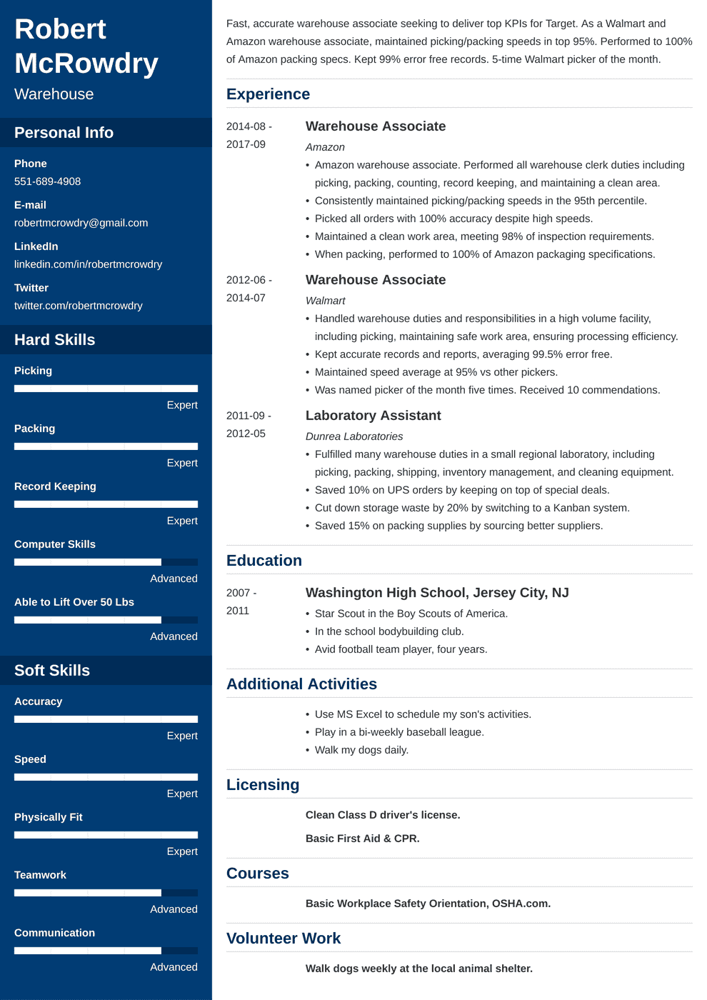 Warehouse Resume: Sample and Complete Guide [+20 Examples]