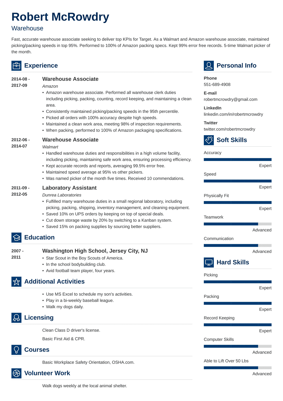 resume example for warehouse