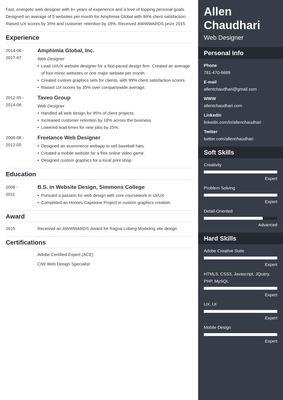 web designer resume example template enfold