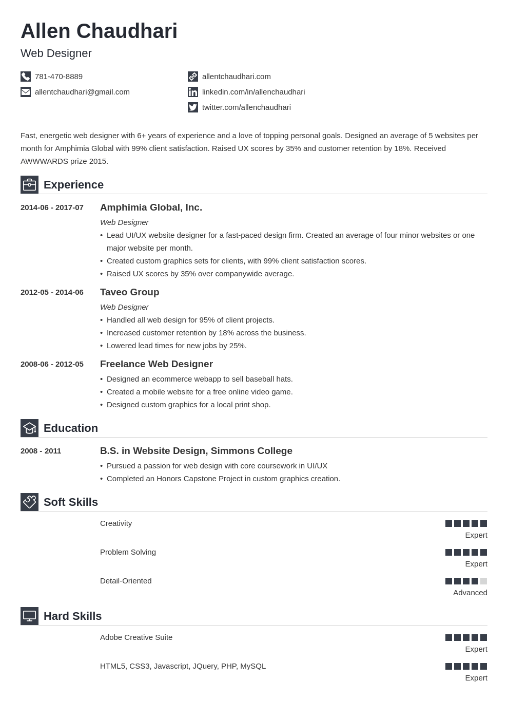 web designer resume example template iconic