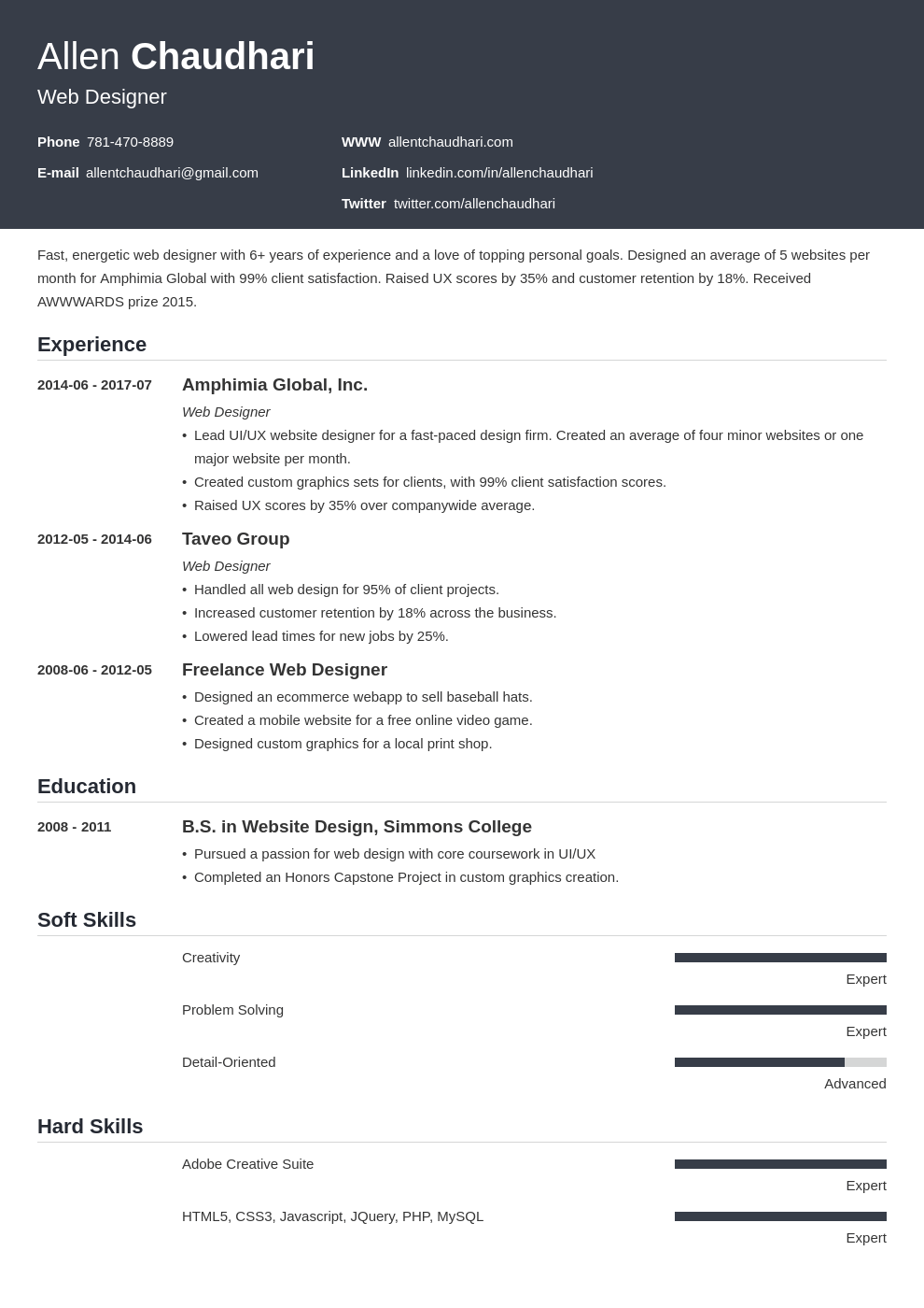 web designer resume example template influx