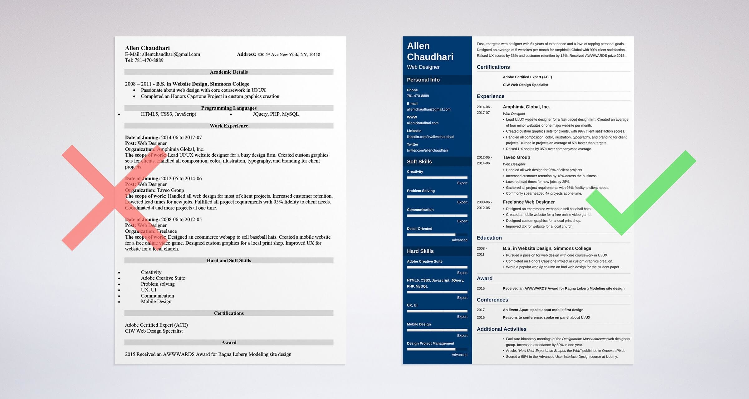 whats the best format for a web designer resume