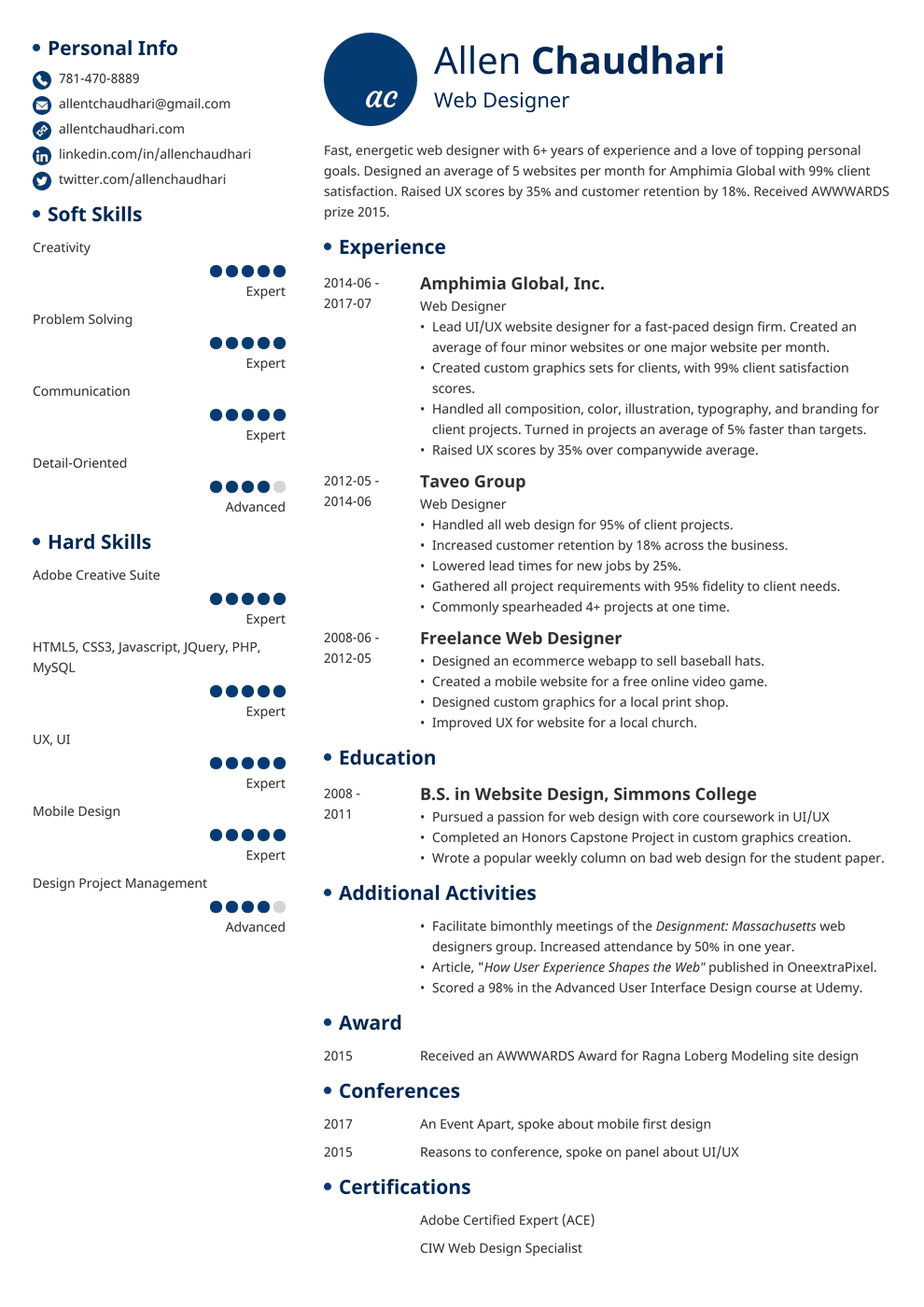 web designer resume examples template  20 tips