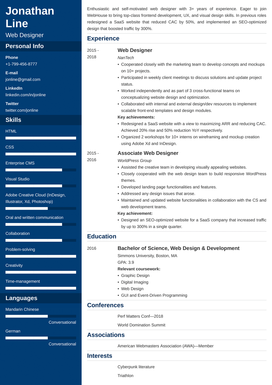 web designer resume sample 25 examples and writing tips