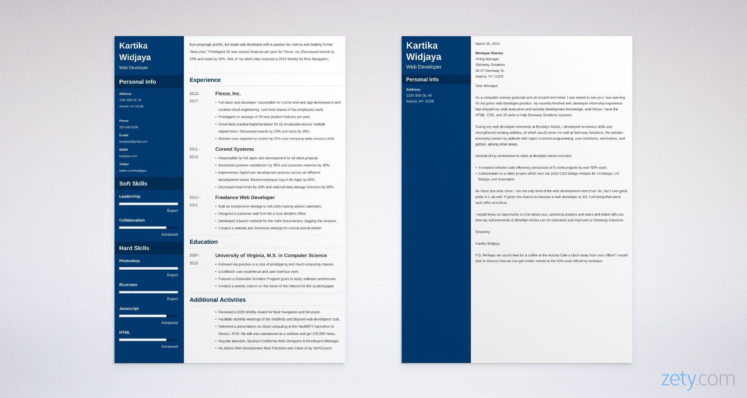 web developer resume and cover letter set