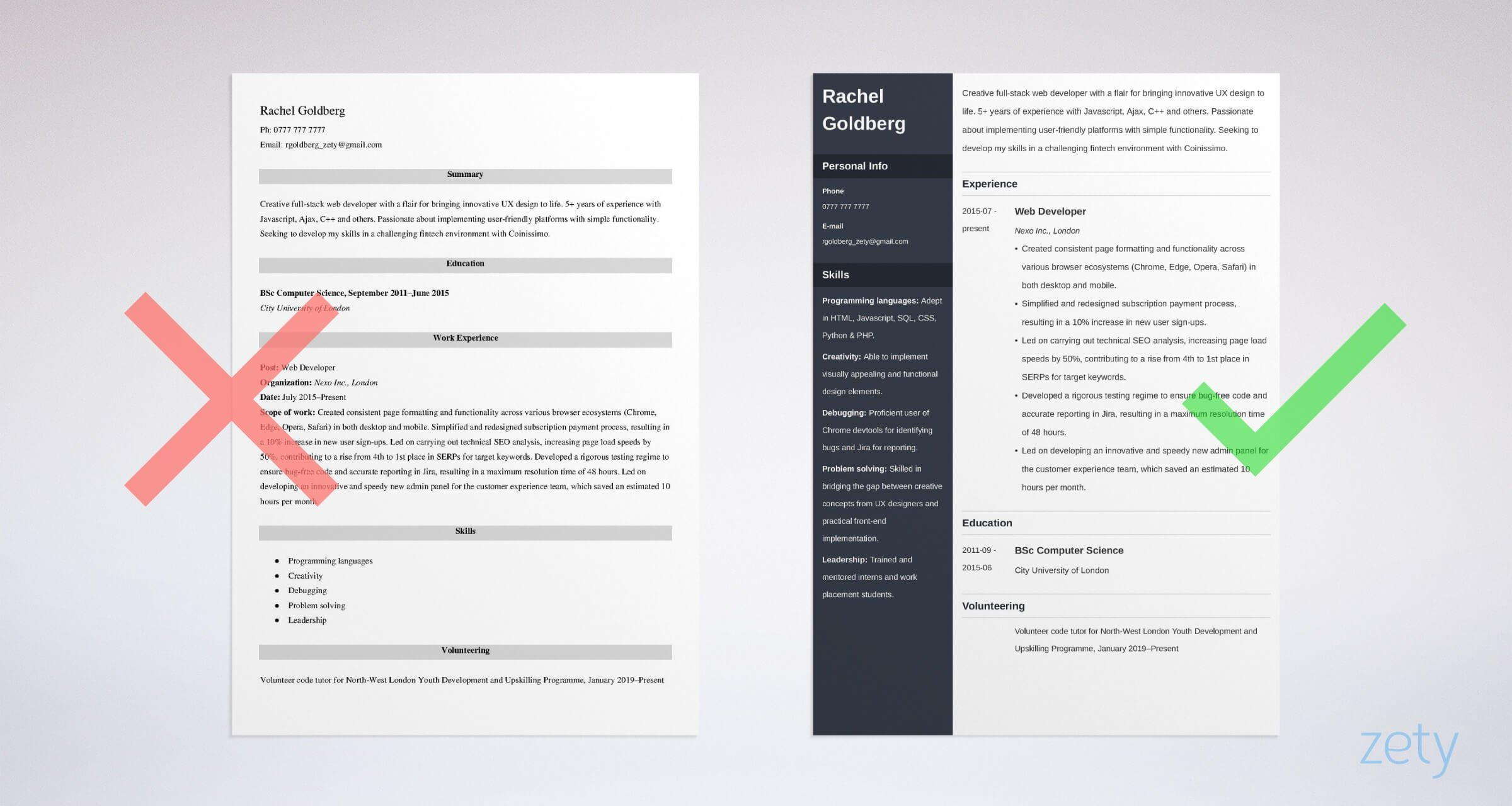 web developer cv templates