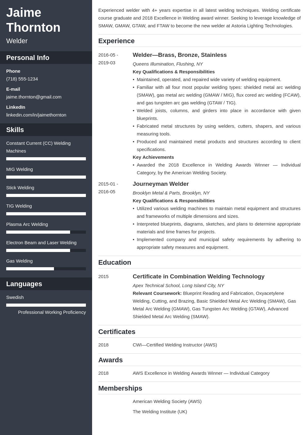 welder resume example template cascade
