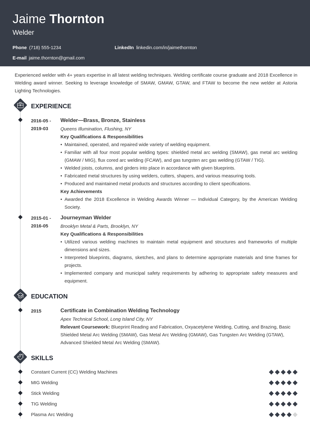 welder resume example template diamond