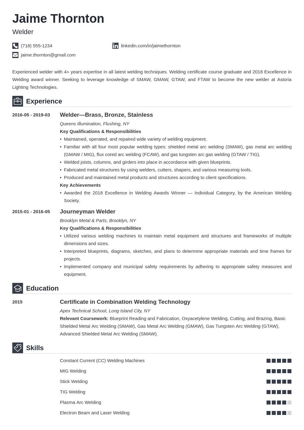 welder resume example template iconic