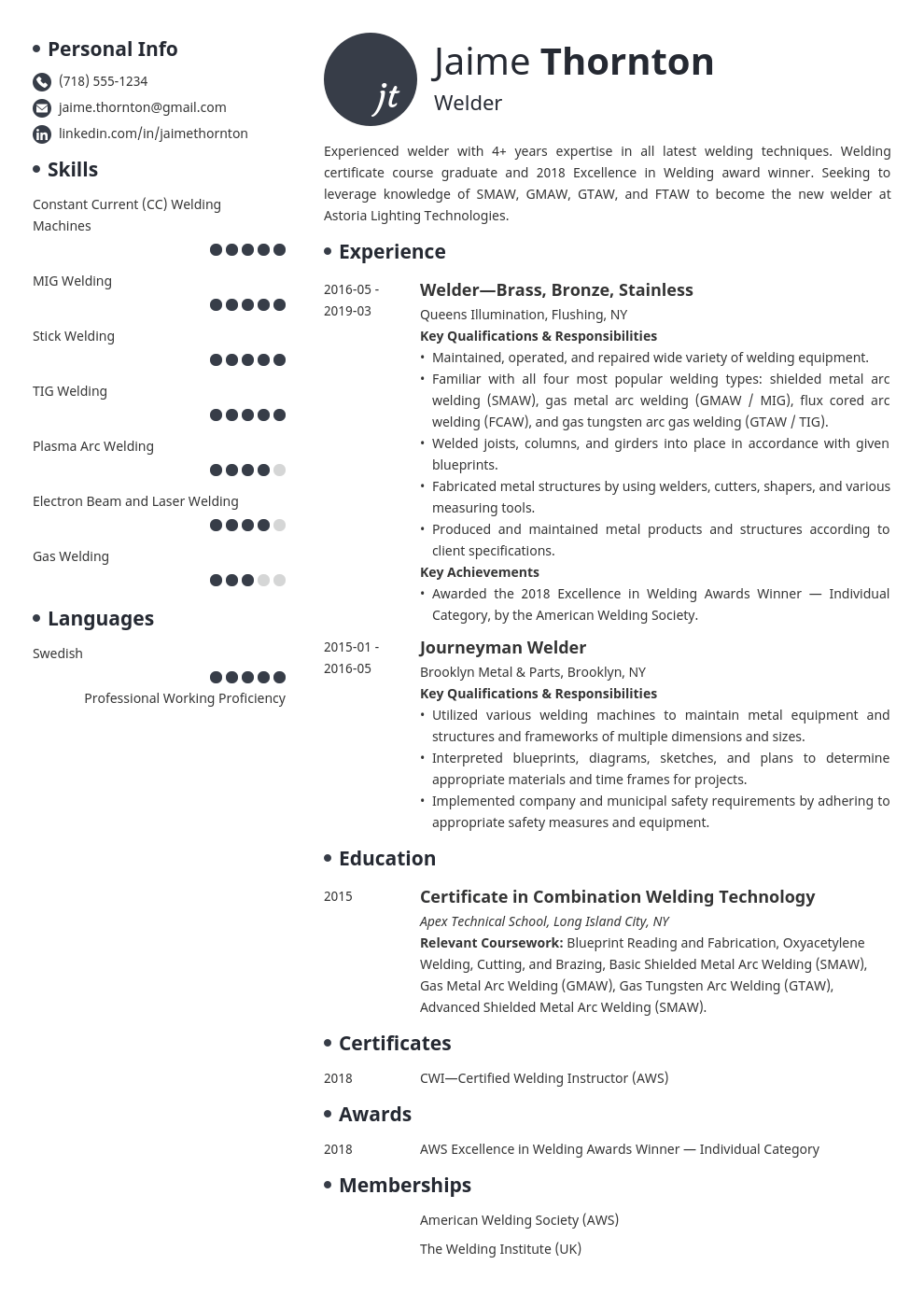 welder resume example template initials