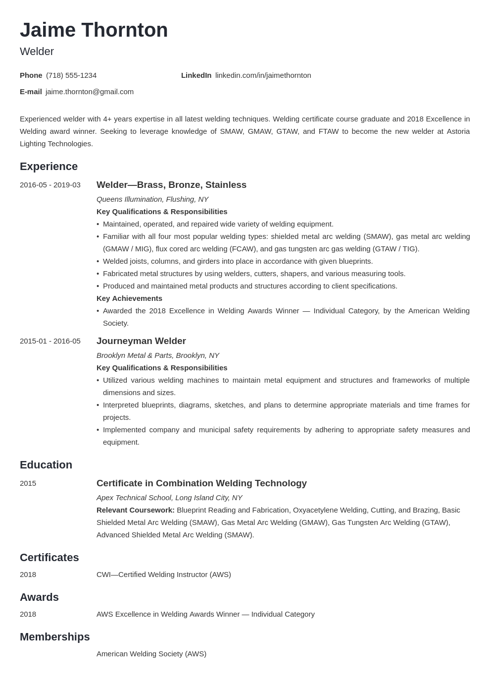 welder resume example template minimo