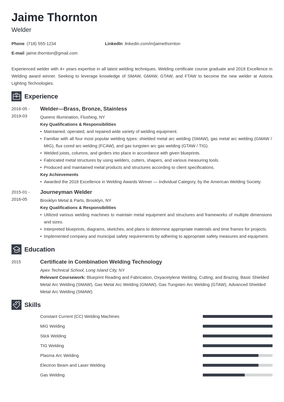 welder resume example template newcast