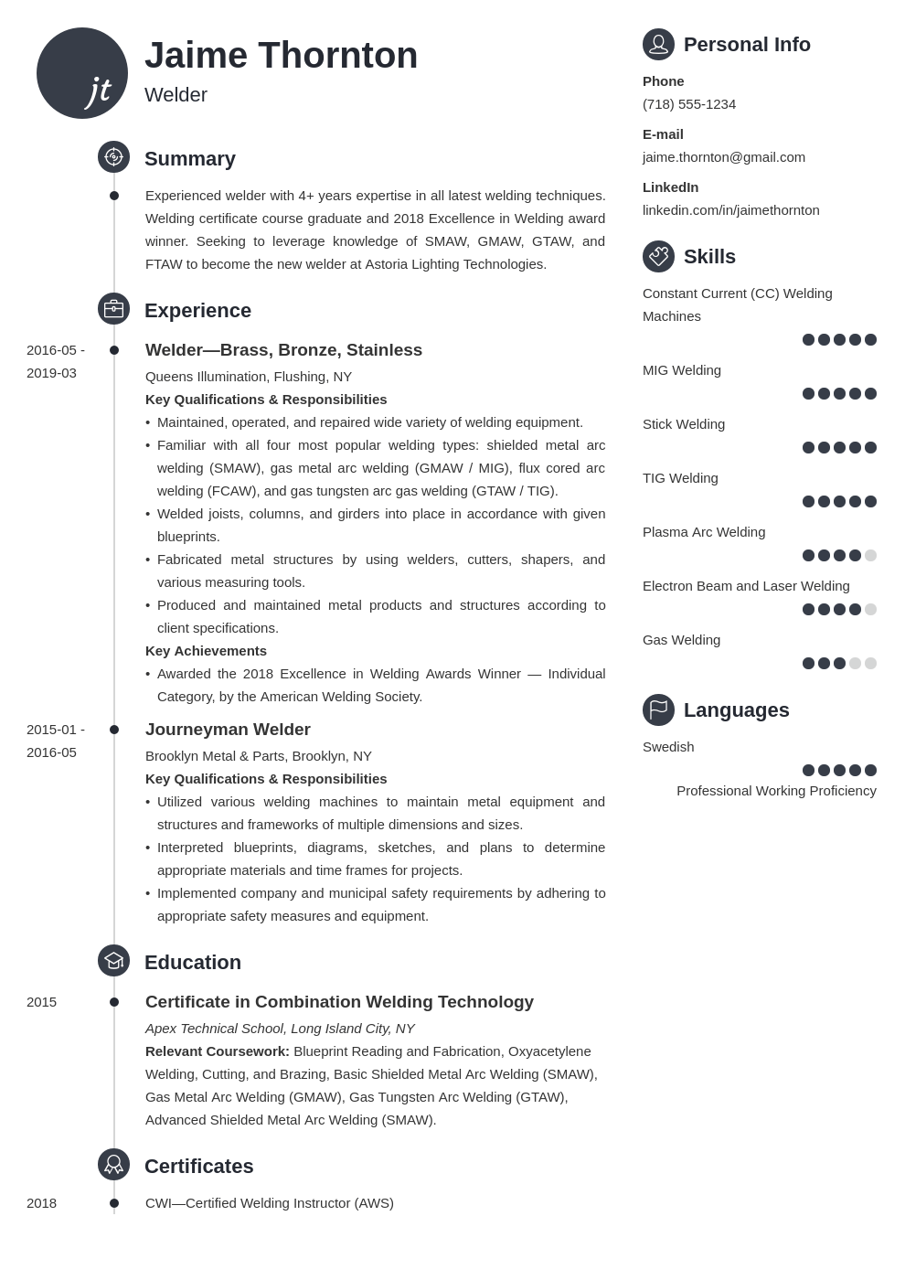 welder resume example template primo