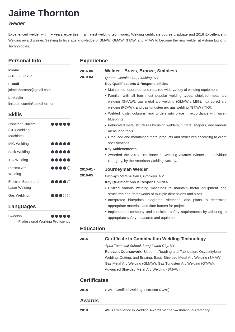 welder resume example template simple