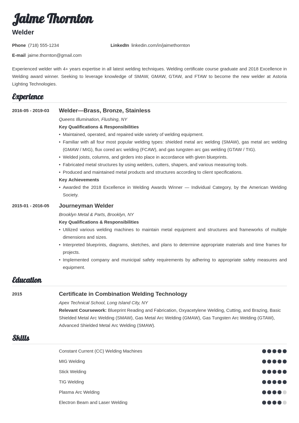 welder resume example template valera