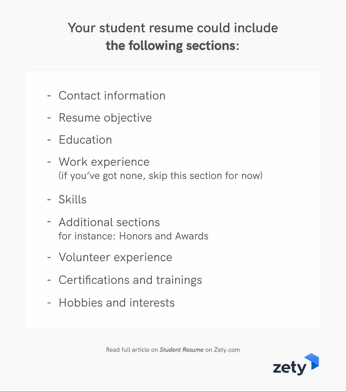 What sections should your student resume include