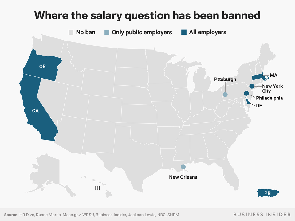 where the salary question has been banned map