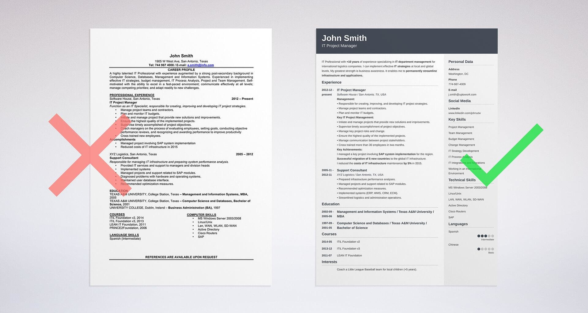 resume formatting in word