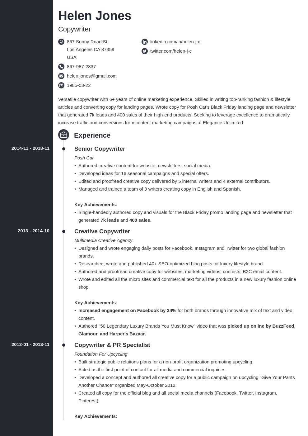 writer resume example template concept