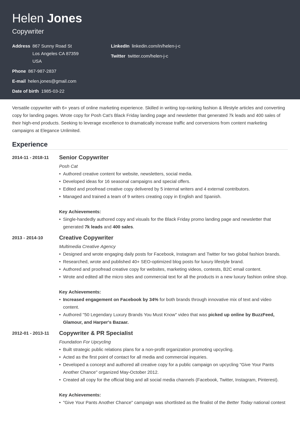 writer resume example template influx