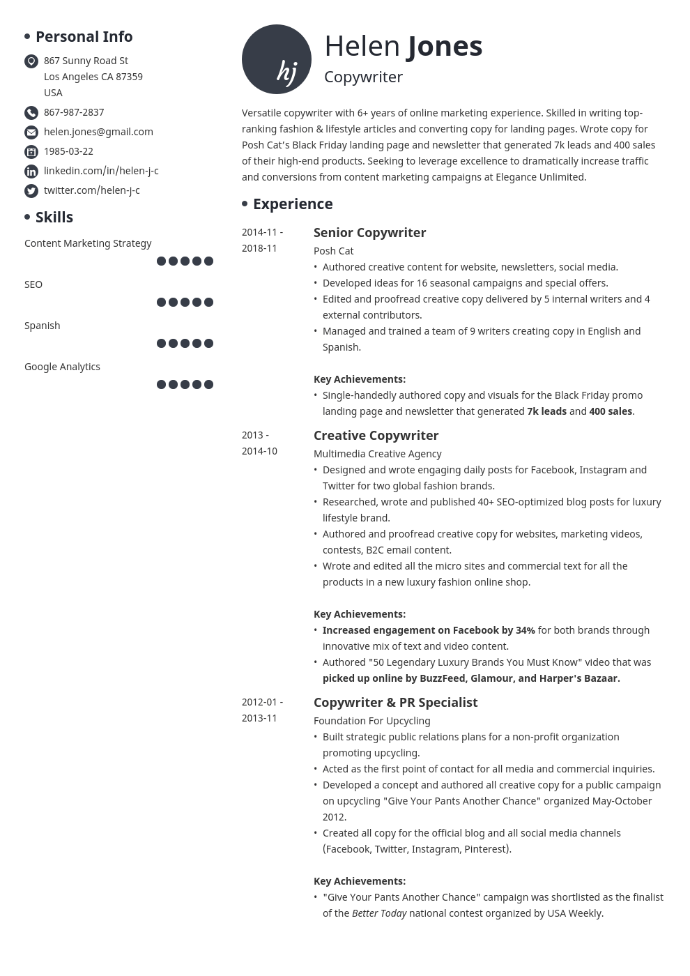 writer resume example template initials