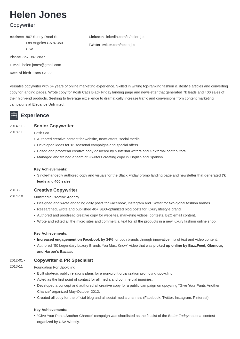 writer resume example template newcast