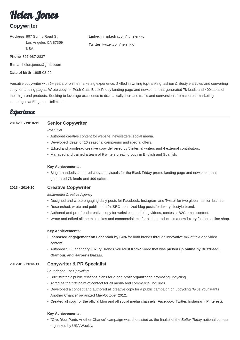 Writer Resume Template Creative Content 20 Tips