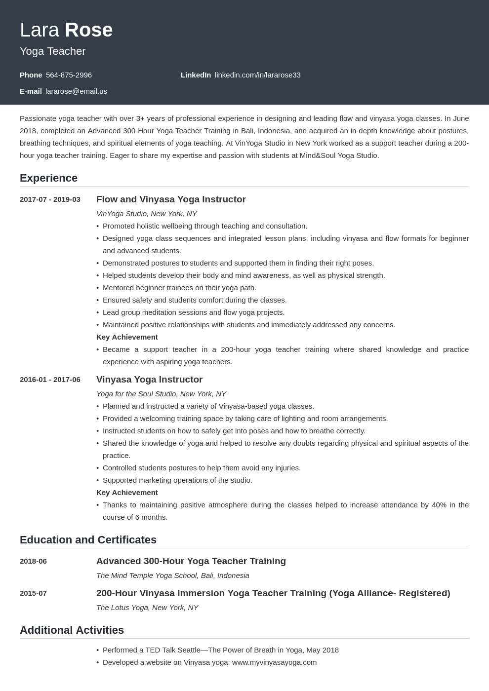 yoga teacher resume example template influx