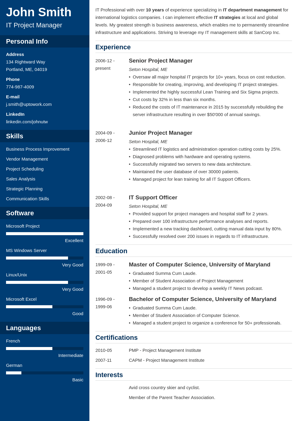 professional resume samples free